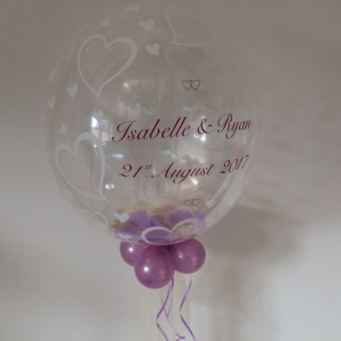 Heart bubble with confetti and personalised with your names