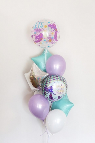 Mermaid wishes foil stars latex balloons