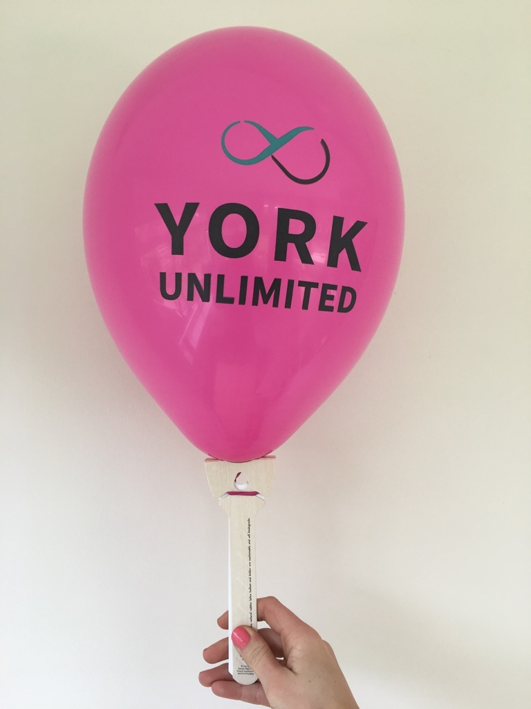 Branded balloon with biodegradable balloon stick