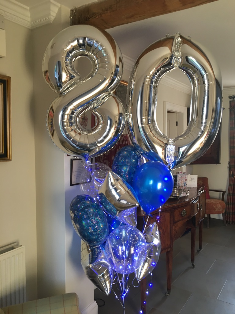 birthday balloon feature display with LED lights