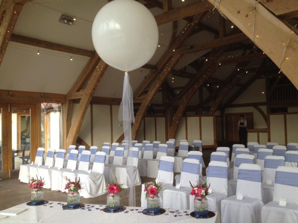 giant balloon ivory organza wedding