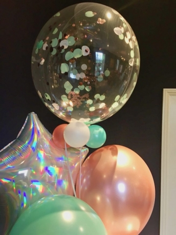 confetti bubble rose gold pastel green