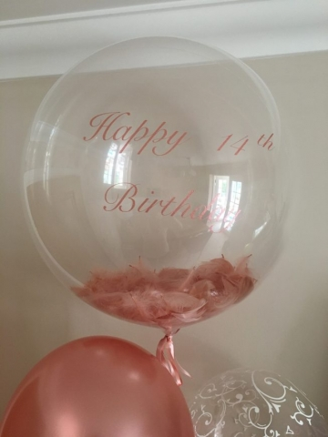 rose gold, feather bubble, personalised,