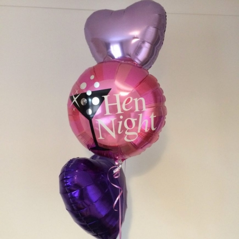Hen night foil display purples pinks