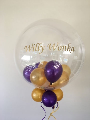 personalised bubble, purple, gold