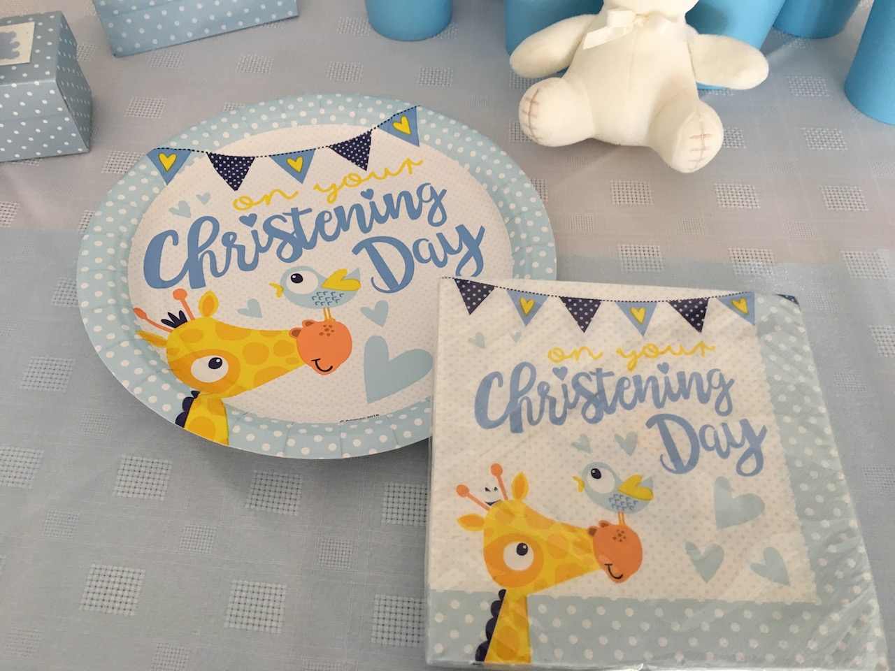 Christening Day plates and serviettes