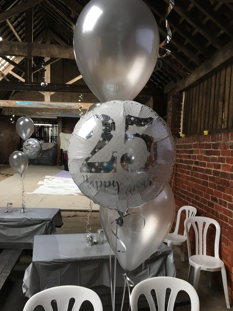 25 anniversary foil latex balloons silver