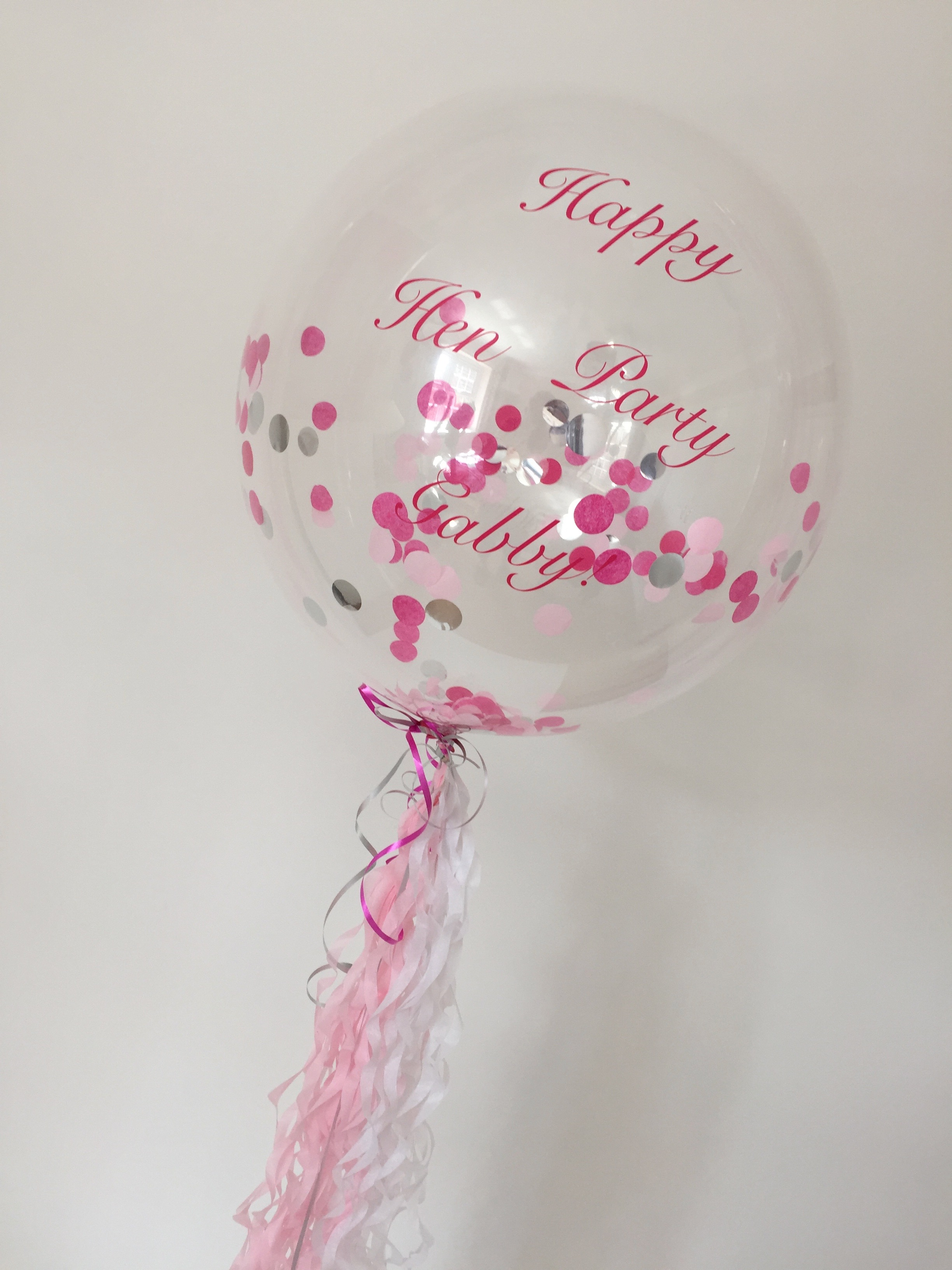 personalised confetti bubble pinks silver