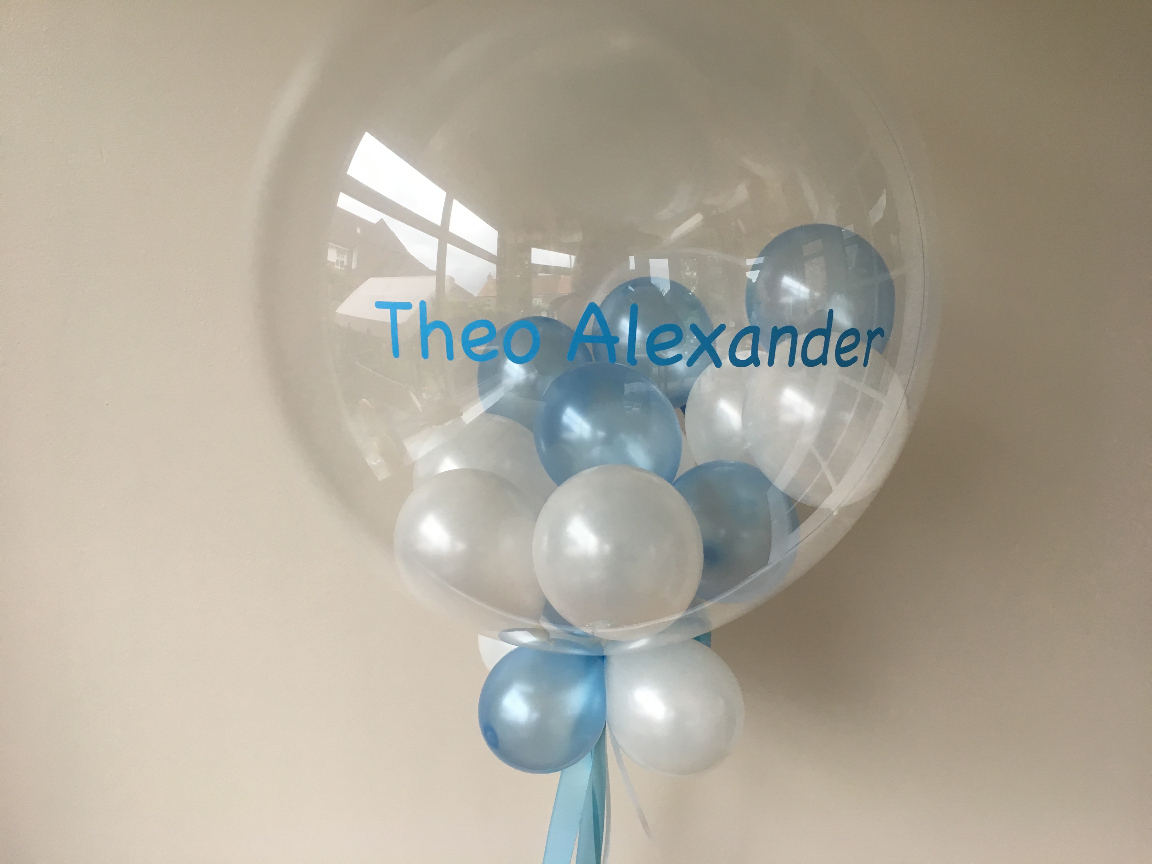personalised, bubble, blue, white, little balloons