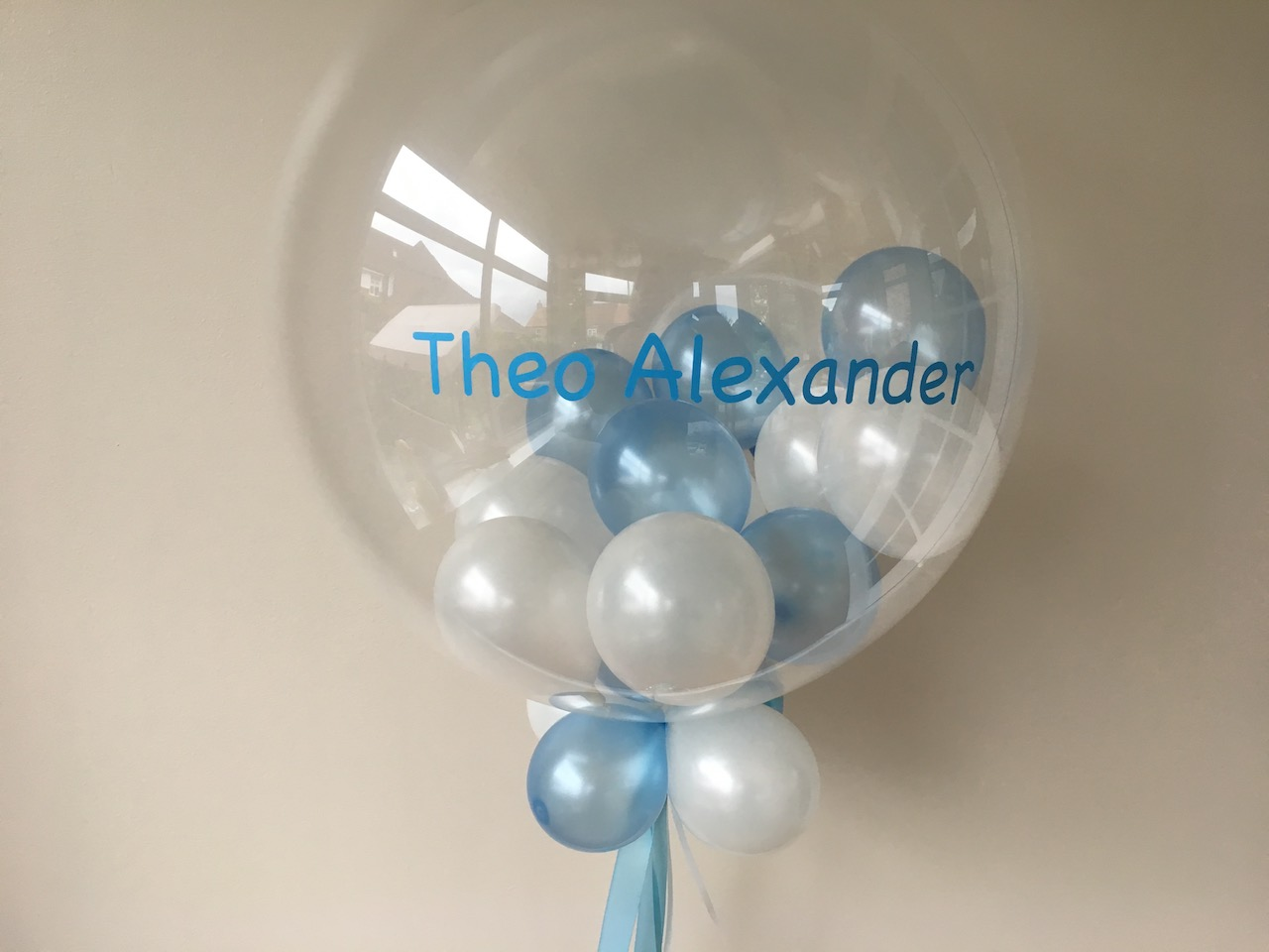 bubble balloon, pale blue, white