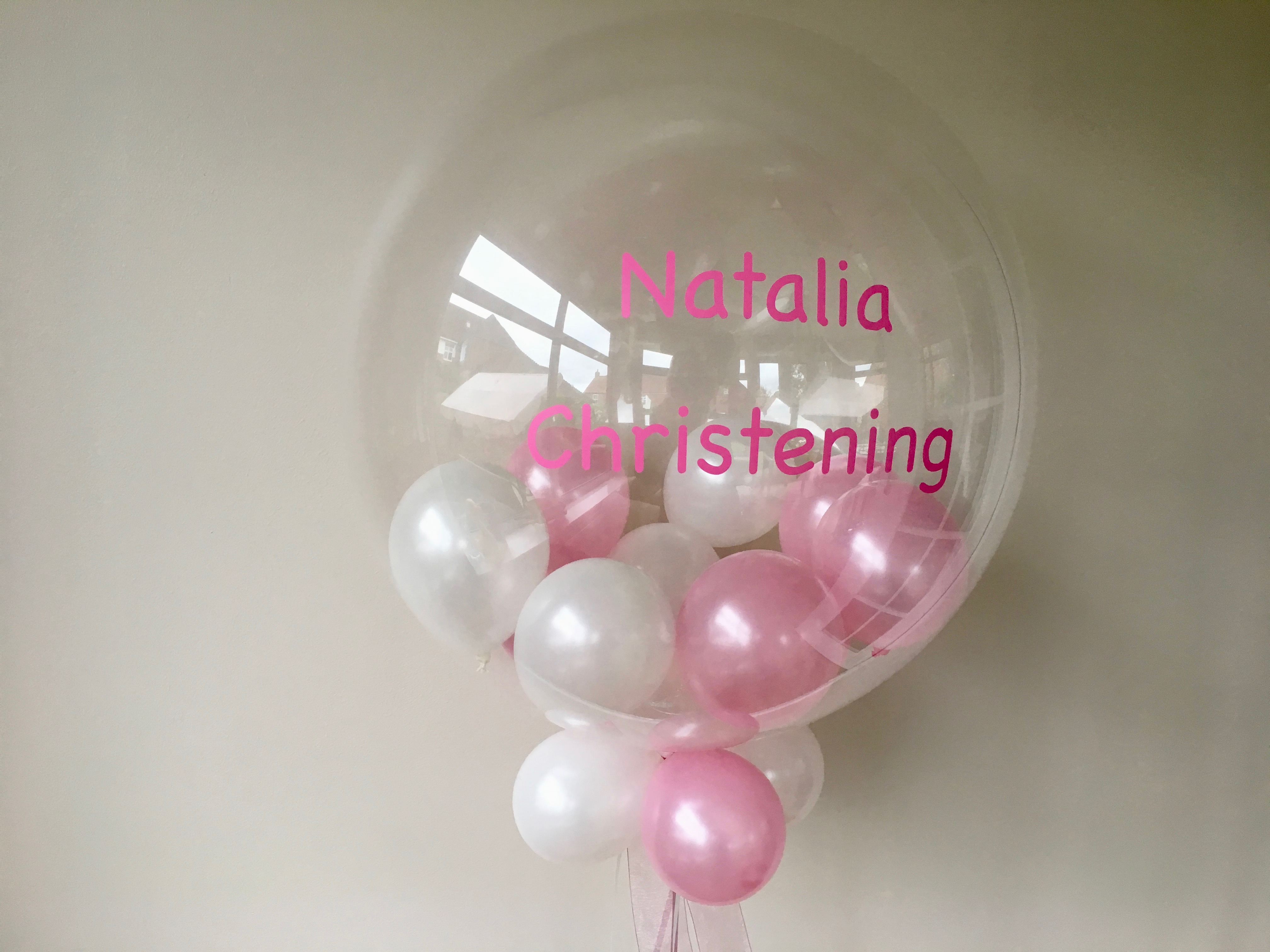 personalised bubble, pink , little balloons
