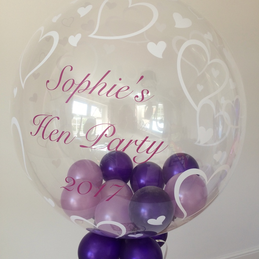 hen party bubble personalised purples