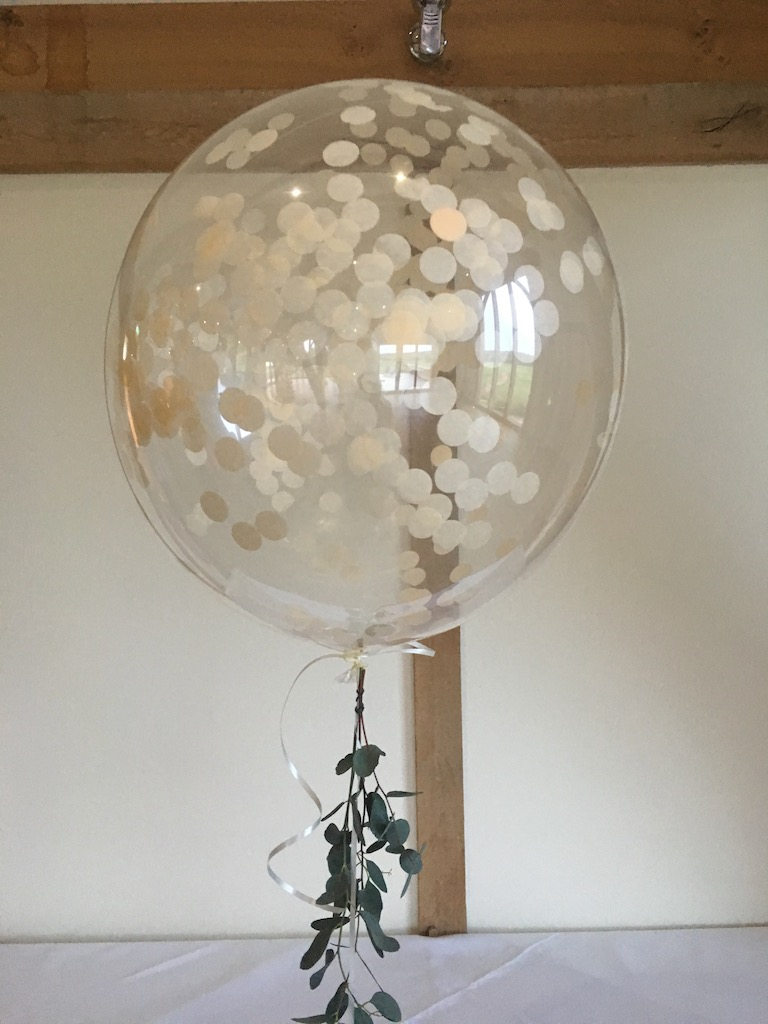Ivory confetti bubble with eucalyptus