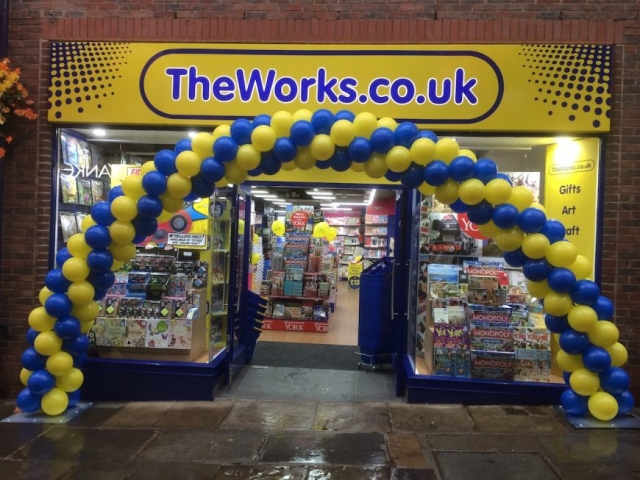 new store opening balloon arch promotion event blue yellow
