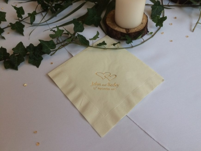 Entwined hearts ivory serviettes personalised