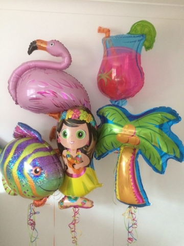 Hawaii shapes flamingo cocktail fish palm tree hula girl