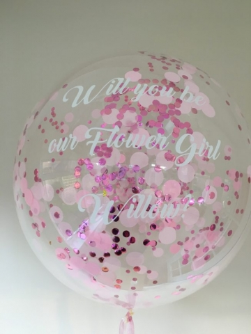 personalised confetti bubble, pink
