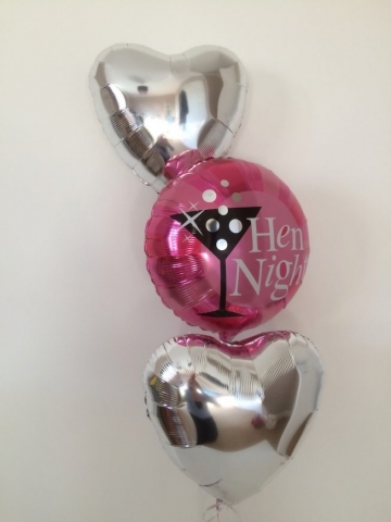 hen night silver foil hearts