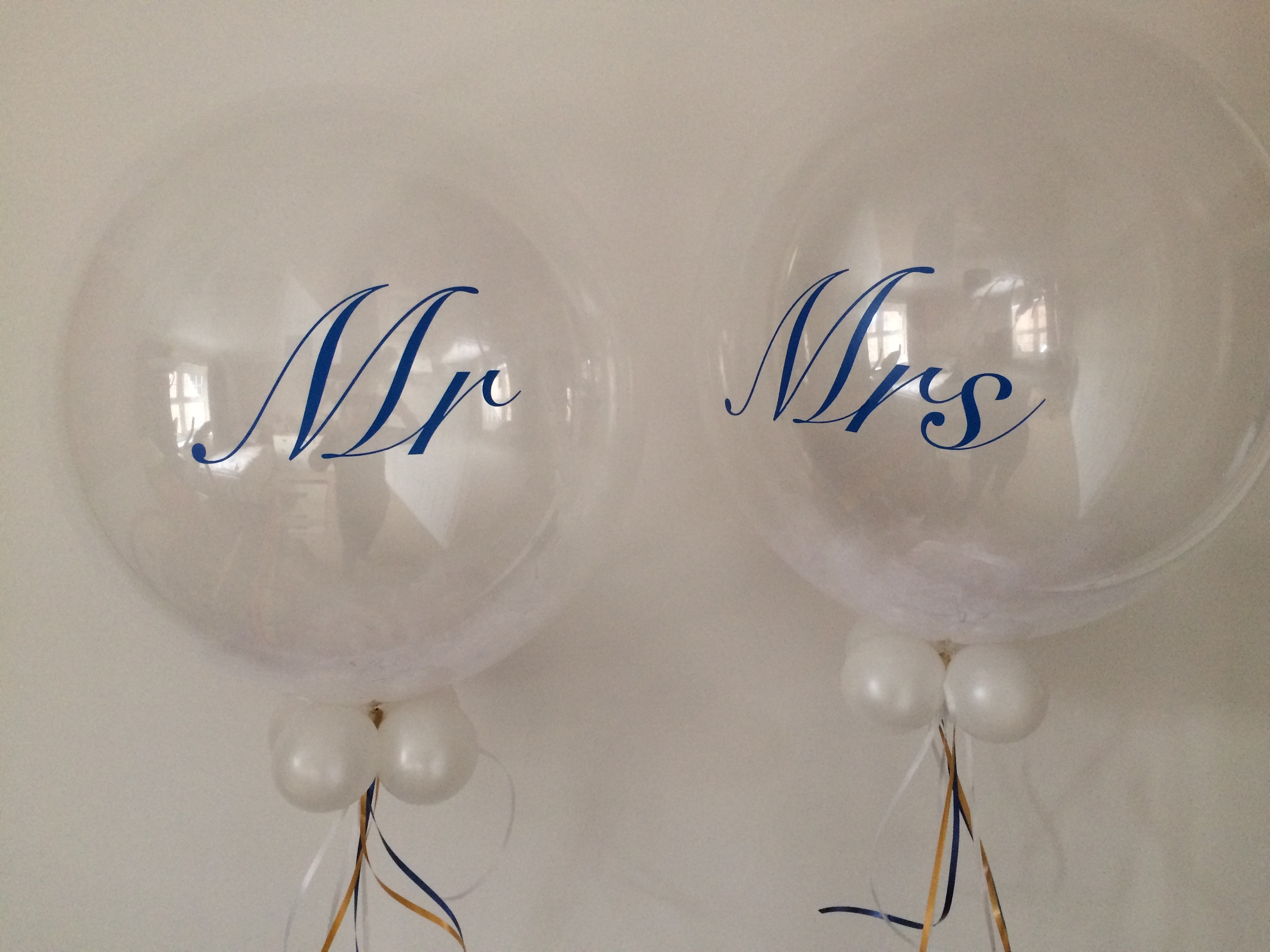 Clear bubbles Mr Mrs Feather personalised