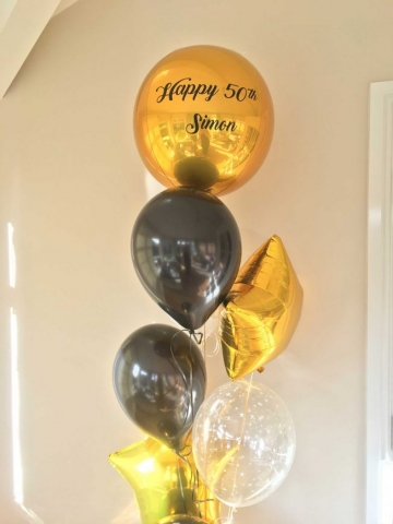 Personalised Orbz birthday balloon display