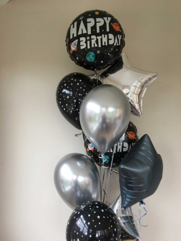 Space theme happy birthday balloon cluster