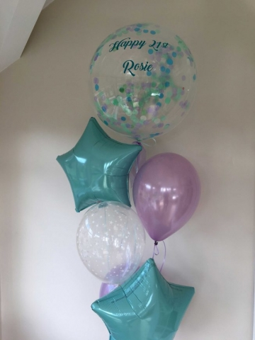 Personalised bubble birthday balloon display
