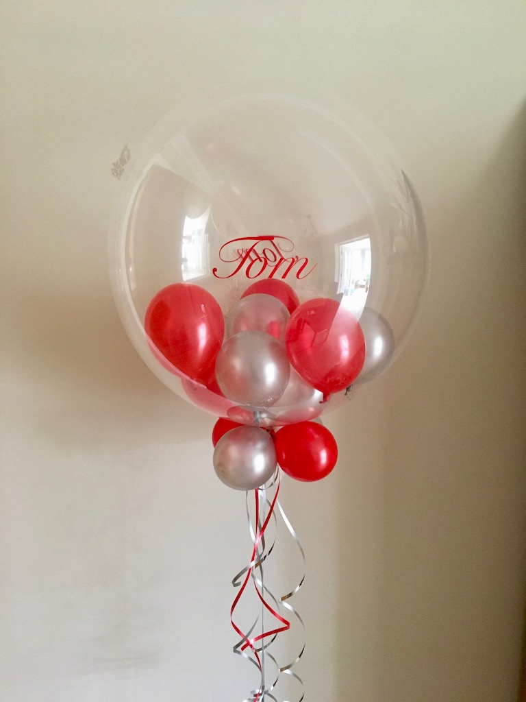 bubble balloon, mini balloons, red